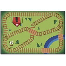 CPT 4855 Carpets for Kids Value Line Railroad Playtime Rug CPT4855