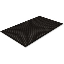"Crown Mats Safewalk-Light Economical Mat - Industry, Office, Indoor - 60"" Length x 36"" Width - Rubber - Black"