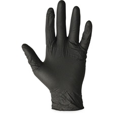 ProGuard Disposable Nitrile General Purpose Gloves - Medium Size - Nitrile - Black - Disposable, Powder-free, Beaded Cuff, Ambidextrous - For Cleaning, Material Handling, General Purpose, Chemical - 100 / Box