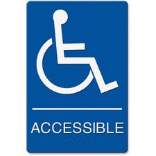 """Headline Wheelchair Image Indoor Sign - """"Accessible (Wheelchair)"""" Preprinted - 6"""" Width x 9"""" Height - Plastic - Blue, White"""