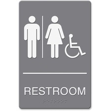"Headline Restroom/Whchr Image Indoor Sign - ""Restroom (Man/Woman/Wheelchair)"" Preprinted - 6"" Width x 9"" Height - Plastic - Gray, White"
