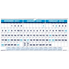 HOD 3648 Doolittle 3-month Horizontal Wall Calendar HOD3648