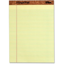 """TOPS Narrow Rule Letter Size Perforated Pads - 50 Sheets - 16 lb Basis Weight - Letter 8.50"""" x 11"""" - Canary Paper"""