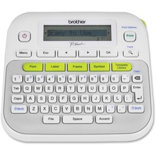 Brother P-Touch PT-D210 Label Maker - Thermal Transfer - Monochrome - Desktop - Labelmaker - 180 dpi - LCD Screen - Desktop Mirror Printing - Laminated Tape