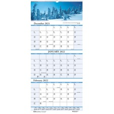 HOD 3636 Doolittle Scenic 3-month Compact Wall Calendar HOD3636