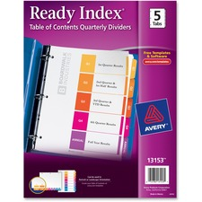 AVE 13153 Avery Ready Index Table of Cont. Qrtrly Dividers AVE13153