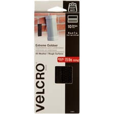"""VELCRO® Brand Industrial-strength Extreme Strips - 1"""" Width x 4"""" Length - Heavy Duty - 10 / Pack - Black"""