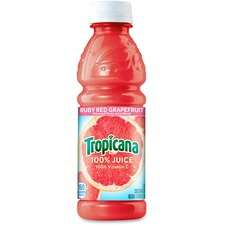 Tropicana Red Grapefruit Juice - Grapefruit - 10 fl oz - Bottle - 24/Carton - Peach