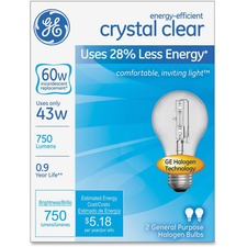 GEL 78796 GE Lighting Energy-efficient Clear 43W A19 Bulb GEL78796
