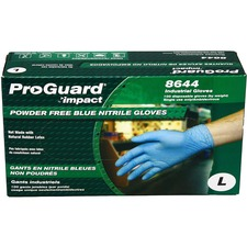 ProGuard PF Nitrile General Purpose Gloves - Large Size - Nitrile - Blue - Ambidextrous, Puncture Resistant, Disposable, Powder-free, Allergen-free, Beaded Cuff, Comfortable, Textured Grip - For Chemical, Laboratory Application, Food Handling, General Purpose - 100 / Box