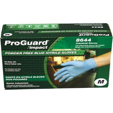 ProGuard PF Nitrile General Purpose Gloves - Medium Size - Nitrile - Blue - Ambidextrous, Puncture Resistant, Disposable, Powder-free, Allergen-free, Beaded Cuff, Comfortable, Textured Grip - For Chemical, Laboratory Application, Food Handling, General Purpose - 100 / Box