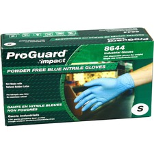 ProGuard PF Nitrile General Purpose Gloves - Small Size - Nitrile - Blue - Ambidextrous, Puncture Resistant, Disposable, Powder-free, Allergen-free, Beaded Cuff, Comfortable, Textured Grip - For Chemical, Laboratory Application, Food Handling, General Purpose - 100 / Box