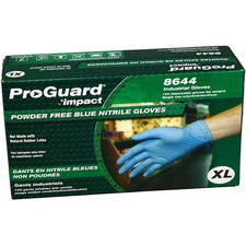 ProGuard PF Nitrile General Purpose Gloves - X-Large Size - Nitrile - Blue - Ambidextrous, Puncture Resistant, Disposable, Powder-free, Allergen-free, Beaded Cuff, Comfortable, Textured Grip - For Chemical, Laboratory Application, Food Handling, General Purpose - 100 / Box