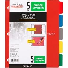 MEA 20040 Mead Five Star Multicolor 5-tab Binder Dividers MEA20040