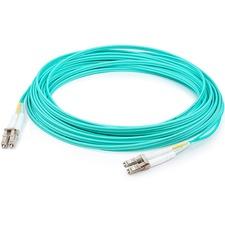 AddOn 0.5m HP AJ833A Compatible LC to LC Aqua OM3 Duplex Fiber OFNR Patch Cable