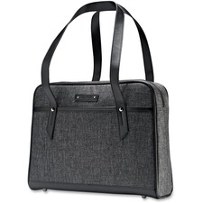 """Samsonite Heathered Carrying Case (Briefcase) for 15.6"""" Notebook - Gray - Shock Resistant Interior, Scratch Resistant Interior - Debossed logo - Shoulder Strap, Handle - 12"""" Height x 16.5"""" Width x 3.5"""" Depth"""