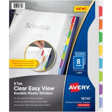 AVE 16741 Avery Clear View Plastic Dividers AVE16741