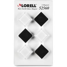 LLR 52560 Lorell Square Glass Cap Rare Earth Magnets LLR52560