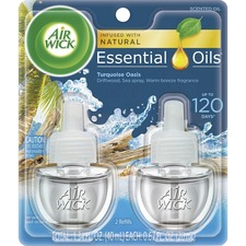 Air Wick Scented Oil Warmer Refill - Oil - 0.67 oz - Turquoise Oasis, Sun-bleached Driftwood, Salty Sea, Warm Breezes - 45 Day - 2 / Pack - Wall Mountable, Long Lasting