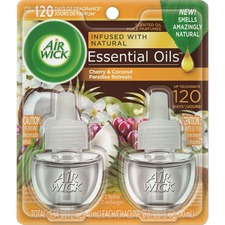 Air Wick Scented Oil Warmer Refill - Oil - 0.67 oz - Paradise Retreat, Coconut, Sweet Almond Blossom, Cherry - 45 Day - 2 / Pack - Wall Mountable, Long Lasting