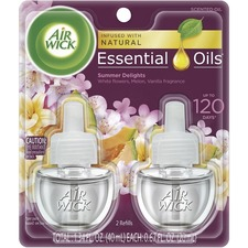 Air Wick Scented Oil Warmer Refill - Oil - 0.67 oz - Summer Delights, White Florals, Sweet Melon, Subtle Vanilla - 45 Day - 2 / Pack - Wall Mountable, Long Lasting