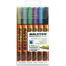 MLW 200197 Molotow One4All 2mm Acrylic Markers Metallic Set MLW200197