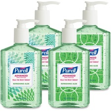 PURELL® Ad Refreshing Aloe Instant Hand Sanitizer - 8 fl oz (236.6 mL) - Kill Germs - Hand - Clear, Green - Non-sticky, Residue-free, Moisturizing, Hypoallergenic - 24 / Carton