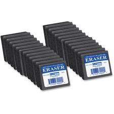 "Flipside Dry Erase/Chalkboard Eraser - Gray - Felt - Whiteboard, Chalk - 2"" Width x 1"" Height x 2"" Depth x - 24 / Pack - Soft"
