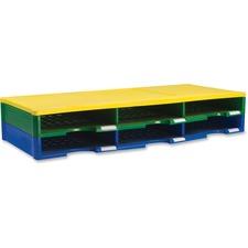 Storex 6 Piece Literature Organizer - 6 Compartment(s) - Blue, Green, Yellow - 4 / Set