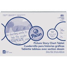 "Pacon Ruled Picture Story Chart Tablet - 25 Sheets - Spiral Bound - Both Side Ruling Surface - Ruled - 1.50"" Ruled - 7"" Picture Story Space - 24"" x 16"" - White Paper - Recycled - 25 / Each"