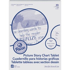 "Pacon Ruled Picture Story Chart Tablet - 25 Sheets - Spiral Bound - Both Side Ruling Surface - Ruled - 1.50"" Ruled - 13.63"" Picture Story Space - 24"" x 32"" - White Paper - 25 / Each"