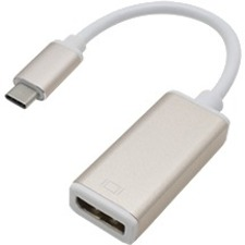AddOn 10cm (4.0in) USB 3.1 Type (C) Male to DisplayPort Female White & Gold Adapter Cable - 100% compatible and guaranteed to work