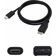 AddOn 1.0m (3.3ft) USB 3.1 Type (C) Male to Micro-USB 3.0 Micro Male Black Adapter Cable - 100% compatible and guaranteed to work