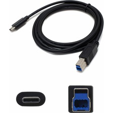 AddOn 1.0m (3.3ft) USB 3.1 Type (C) Male to USB 3.0 (B) Male Black Adapter Cable - 100% compatible and guaranteed to work