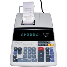 "Sharp EL1197PIII Printing Calculator - 12 Character(s) - Fluorescent - Power Adapter, AC Supply Powered - 8.5"" x 10.5\"" x 2.75\"" - White"