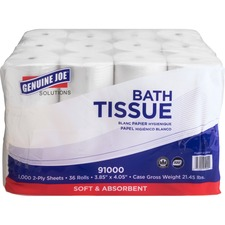 Genuine Joe Solutions Double Capacity 2-ply Bath Tissue - 2 Ply - 1000 Sheets/Roll - White - Virgin Fiber - Embossed, Chlorine-free - For Bathroom - 36 / Carton