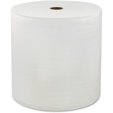 "Genuine Joe Solutions 1-ply Hardwound Towels - 1 Ply - 7"" x 600 ft - White - Virgin Fiber - Embossed, Absorbent, Soft, Chlorine-free - 6 / Carton"