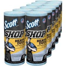 "Scott Pro Shop Towels - 11"" x 22.77 ft - 60 Sheets/Roll - Blue - Hydroknit - Solvent Resistant, Absorbent, Reusable, Soft, Strong, Heavy Duty - For Hand, Tools - 12 Rolls Per Carton - 720 / Carton"