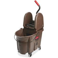 "Rubbermaid Commercial WaveBrake Combo Mop Bucket - 35 quart - 23.5"" x 15.5"" x 20"" - Tubular Steel, Plastic - Brown"
