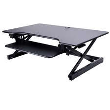 """Lorell Deluxe Adjustable Desk Riser - 16"""" Height x 37"""" Width x 24"""" Depth - Desktop - Black"""