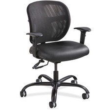 "Safco Vue Intensive-use Mesh Task Chair - Vinyl Black Seat - Nylon Back - 5-star Base - 20.50"" Seat Width x 20"" Seat Depth - 26"" Width x 26"" Depth x 37"" Height"