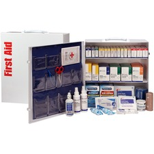 """First Aid Only 3-Shelf First Aid Cabinet with Medications - ANSI Compliant - 675 x Piece(s) For 100 x Individual(s) - 15.5"""" Height x 17"""" Width x 5.8"""" Depth - Steel Case - 1 Each"""
