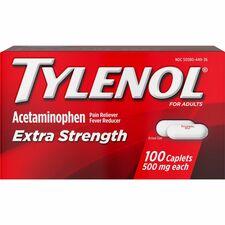 Tylenol Extra Strength Caplets - For Fever, Headache, Muscular Pain, Arthritis, Toothache, Backache - 100 / Box