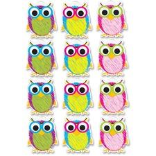 ASH 10088 Ashley Prod. Scribble Owls Design Dry-erase Magnet ASH10088