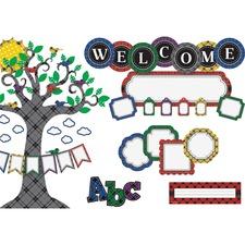 TCR 6159 Teacher Created Res. Plaid Tree Decorative Set TCR6159