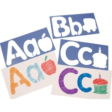 "Roylco Big Alphabet and Picture Stencils - 6"" - Uppercase Letter, Lowercase Letter, Picture - 6.5"" x 13"" - Blueberry"
