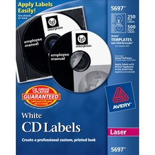 Avery CD/DVD and Jewel Case Spine Label - 2/Sheet - Removable - 250 / Pack - White