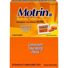 Motrin Ibuprofen Pain Reliever - For Headache, Muscular Pain, Backache, Toothache, Arthritis, Common Cold, Menstrual Cramp, Fever - 50 / Box - 2