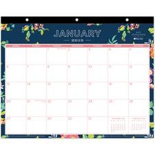 BLS 103630 Blue Sky Day Designer Navy Floral Desk Pad BLS103630