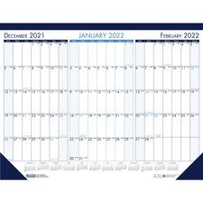 HOD 136 Doolittle 3-month View Monthly Desk Pad Calendar HOD136